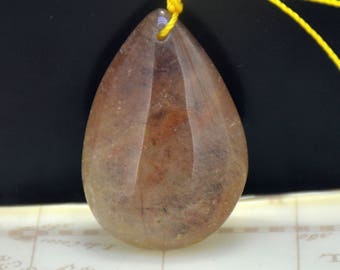 Natural Brown rutilated quartz crystal Quartz Pendant Gemstone Beads Teardrop Real Quartz Crystal Pendant 35mmx24mm