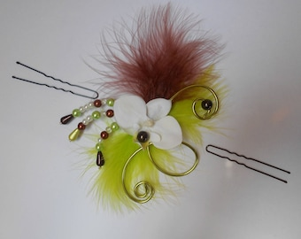 Floral headdress of an orchid for bride or witness - chocolate and anise