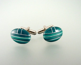 Natural Malachite Cufflinks - Natural Gemstone with Sterling Silver Cuff Links - Hand Made in USA
