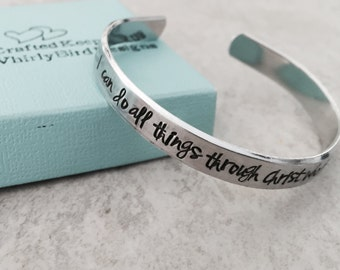 SALE I can do all things through Christ who strengthens me personalized cuff bracelet Philippians 4:13