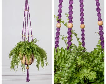 With bamboo planter, hanging: 103 cm purple macrame plant holder