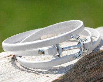 ANCHOR BRACELET, Nautical bracelets, Leather Triple Wrap Bracelet , Leather Bracelets, Navy, Bridesmaids gifts, Grad gifts