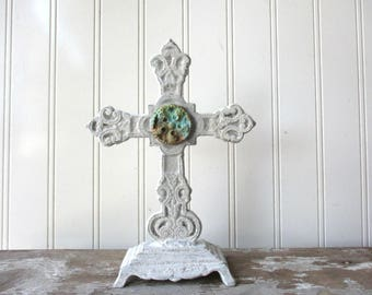 Cast iron standing cross white cross ornate metal 8 inch with verdigris paperclay element Religious Christian Spiritual decor W1