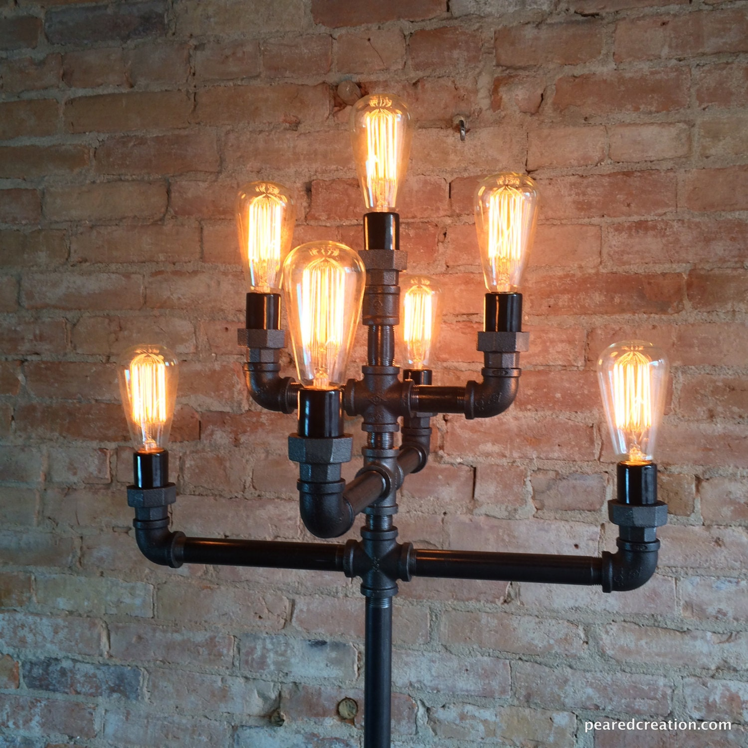 🔎zoom - Floor Lamp Multiple Edison Bulb Industrial Style Iron