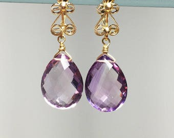 14k Gold Rose Amethyst Filagree Earrings