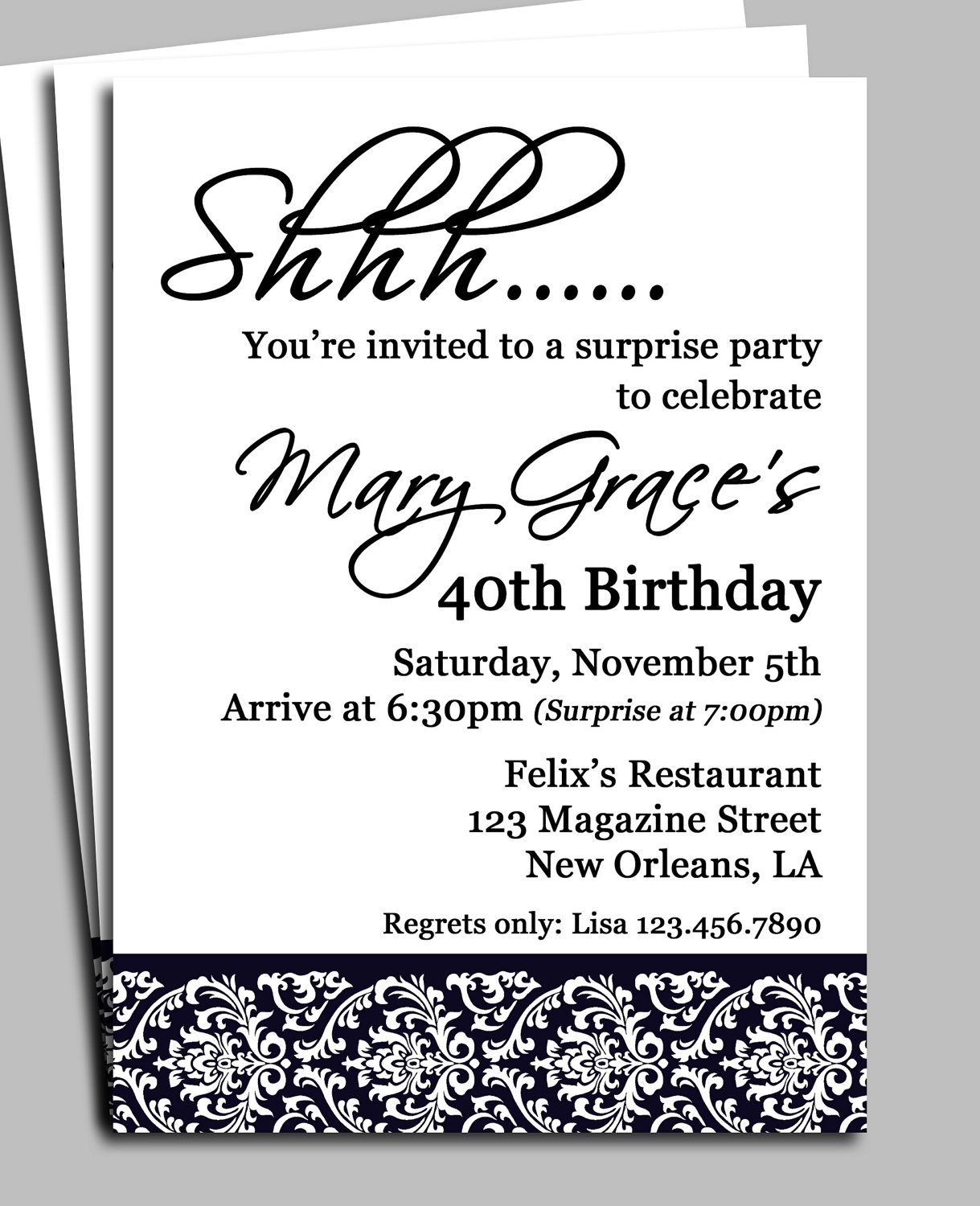Black Damask Surprise Party Invitation Printable or Printed