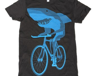 Shark on a bicycle - Womens T Shirt, Ladies Tee, Tri Blend Tee, Handmade graphic tee, sizes s-xL