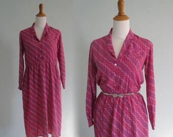 Pink Silk Dress - Lovely 80s Jack Mulqueen Raspberry Pink Dress - Vintage Chevron Striped Silk Dress - Vintage 1980s Dress M