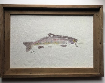 Laughing Trout Gyotaku Fish Rubbing Framed with Glass
