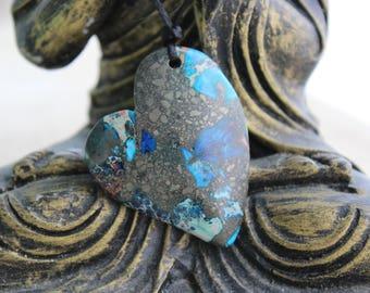"Jasper and pyrite necklace""shield"" - Jasper - Heart Necklace """