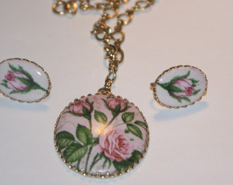 Pretty Pink Rose Painted on Porcelain Necklace with Screw Back Earrings Large Set