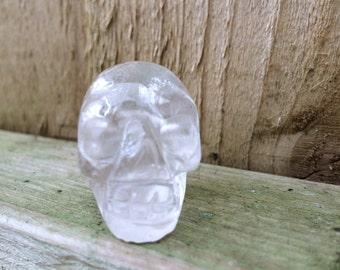 Quartz crystal skull necklace