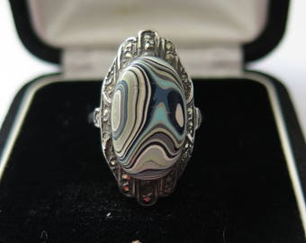 Art Deco Ring Statement Ring Sterling Silver With Blue Cermaic Cabochon And Marcasite