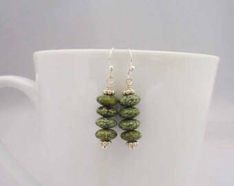 Serpentine Earrings, Dangle Serpentine Earrings, Green Gemstone Earrings, Serpentine Earrings in Green