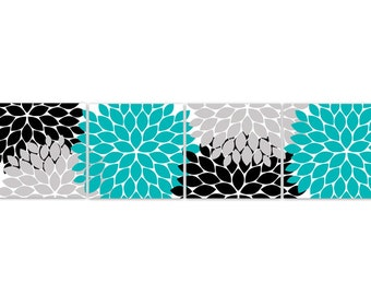 Home Decor Wall Art, INSTANT DOWNLOAD Turquoise And Black Flower Art Print,  Bathroom Wall