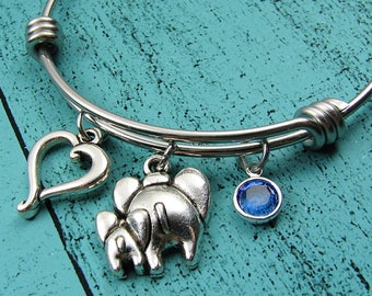 Mom gift, mom jewelry, baby shower gift, new mom bracelet, mommy and me elephant, birthstone bracelet, mother to be gift, Mothers Day gift