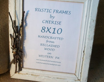 Rustic Reclaimed Wood White Chipped Paint Picture Frame 8X10 with Twig Decoration