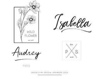 Premade Custom Unique Logo Design - Minimal Logo - Typeface - Handwritten Logo - Photography Business Blog Brand Logo - Branding - Custom