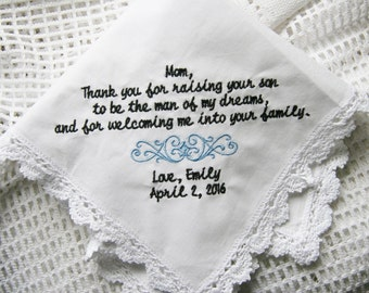 Mother Of The Groom From Bride-  Embroidered Handkerchief Choose Your Wording and Design