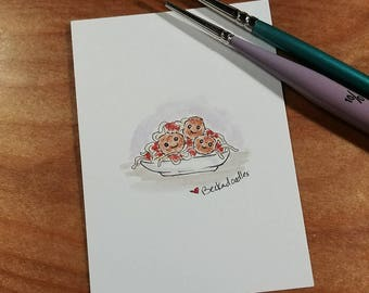 OOAK Mini Doodle Painting of Spaghetti and Meatballs