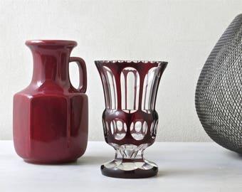 Vintage blood red glass vase