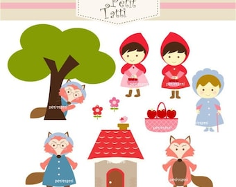 ON SALE Red Riding Hood Digital clip art - girl clipart, INSTANT Download Clip art
