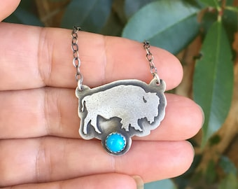 Sterling Silver Bison Turquoise Necklace - Bison Necklace - Buffalo Necklace - Silver Turquoise necklace