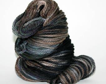 Hand-Painted Bulky 100% Superwash Merino Wool Yarn - Foggy Night Sky