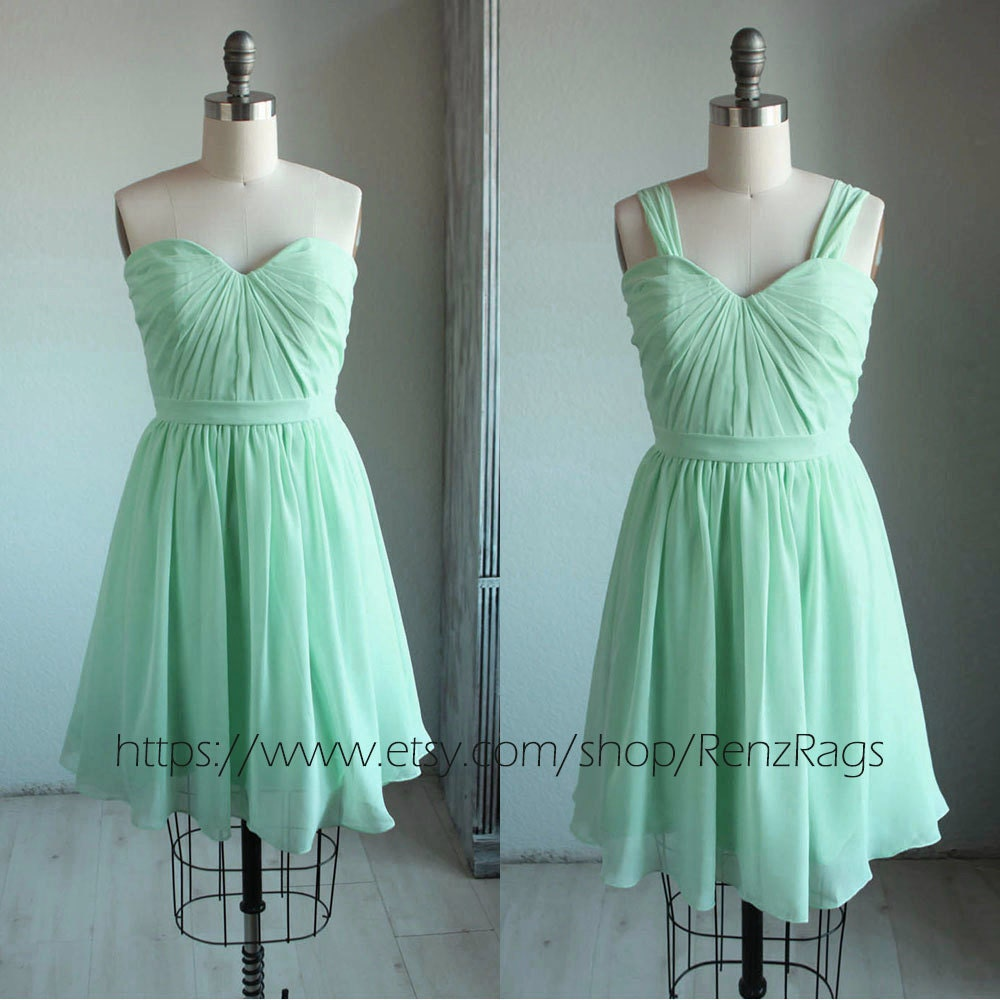 Bright Mint Bridesmaid Dress Pleated Graduation Dress Short