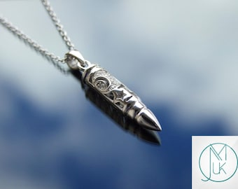 Sterling Silver 925 Bullet Moon Pendant Necklace With Cubic Zirconia FREE UK SHIPPING