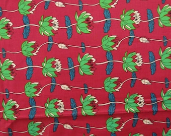 "Home Decor Cotton Fabric, Floral Print, Dress Material, Red Fabric, Sewing Craft, 41"" Inch Fabric, Floral Fabric By The Yard ZBC6918A"