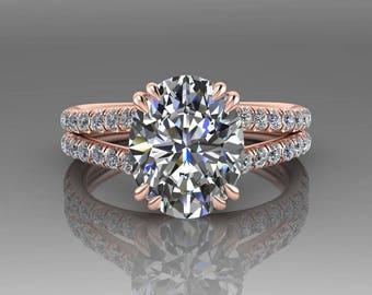 3 Carat Forever Brilliant Moissanite Engagement Ring, 18K Rose Gold Oval Engagement Ring, Diamond Engagement Ring, Wedding Ring
