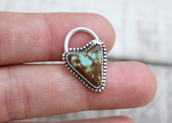 Sterling Silver Septum Ring Handmade With Royston Turquoise 14 Gauge