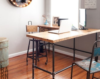 Reclaimed Wood Desk In L Shape With Iron Pipe Legs In Choice Of Size, Height