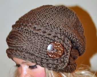 Slouchy Hat Women Slouchy Beanie Women Cable Button Hat Winter Hat CHOOSE COLOR Taupe Brown Milk Chocolate Fall Chunky Christmas Gift