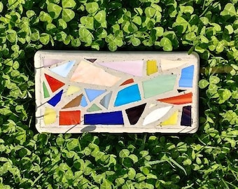 Abstract Stained Glass Mosaic Stepping Stone