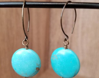 Antique Brass & Turquoise Round Drop Earrings