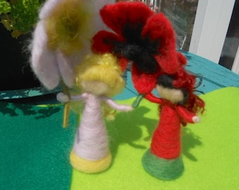 Waldorf Flower Fairy, Wild Rose Fairy, Play Mat, Play Scape, Hand Felted Fairy, Needle Felted Fairy, Nature Table, Pink and Yellow