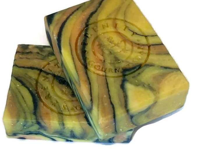 Hypnotized  Vegan All Natural Handmade Bath Soap with Activated Charcoal, Carrot Juice and Essential Oils.