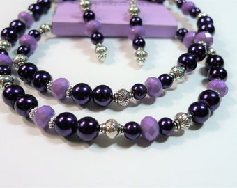20in glass and metal Beaded Necklace Set.  Dark purple pearls, lavender iridescent opaque crystals, silver beads