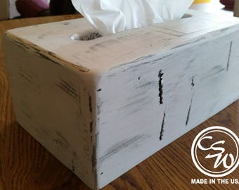 Tissue Box Cover Rectangular, Tissue Box Holder, Tissue Box Cover Holder, Rustic Tissue Box Cover, Distressed Painted Tissue Box Cover