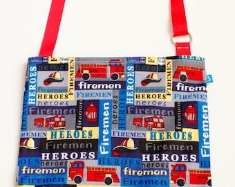 Washable, Eco-Friendly Car Trash Bag in Fireman Heroes Fabric