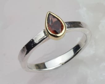 January Birthstone Ring | Garnet Tear Drop Ring | Red Garnet Silver Ring | Pear Shaped Garnet | January Birthday Gift | Mixed Metals Ring