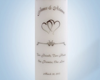 Personalized Wedding Candle Two Hearts