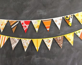 Autumn Bunting Banner / Thanksgiving / Fabric Flag Bunting / Harvest Festival / Flag Garland / Brown Yellow Orange Red / Boho Style / Groovy