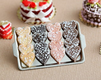 """MTO-Display of Valentine's Heart Shaped """"Lace Effet"""" Cookies on Metal Tray - Miniature Food in 12th Scale for Dollhouse"""