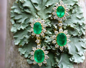 7.73tcw Colombian Emerald Ovals & Diamond Cluster Drop Earrings 18k, Oval Emerald Earrings, Natural emerald and diamond earrings, Emeralds