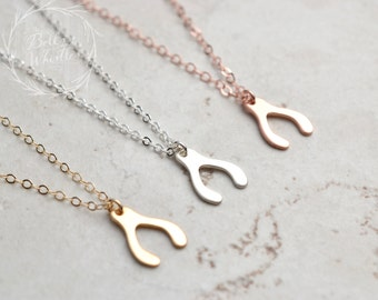 Wishbone Necklace / Lucky Necklace / Sterling Silver, Gold, Rose Gold / Delicate Necklace / Layering Necklace