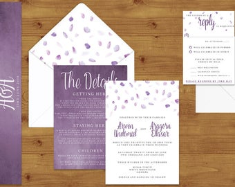 Lavender Watercolour Petals Wedding Invitations Stationery Set - Printed or Digital Download - Purple Wedding - Wedding Printable