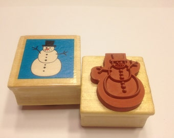 small Snowman rubber stamp, 25 mm (BB4)